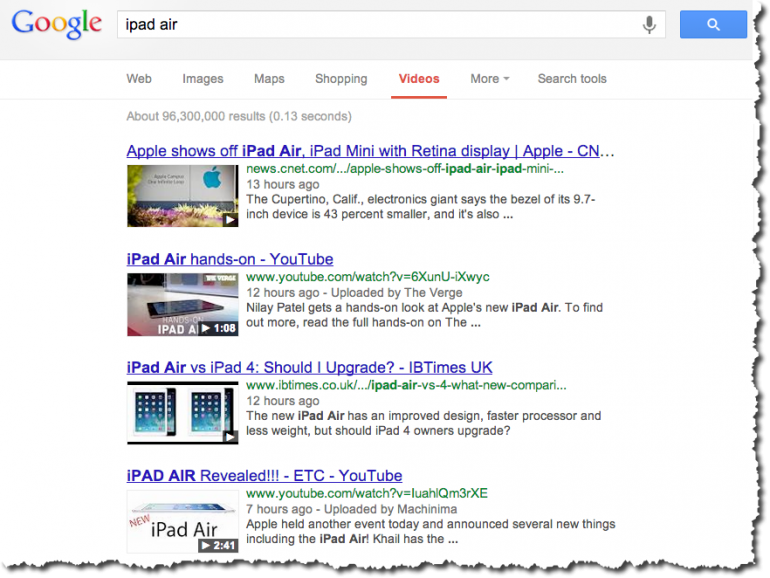 Google search for iPad Air