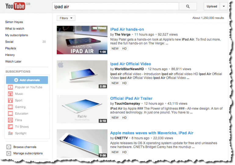 YouTube Search For iPad Air - Video Optimisation
