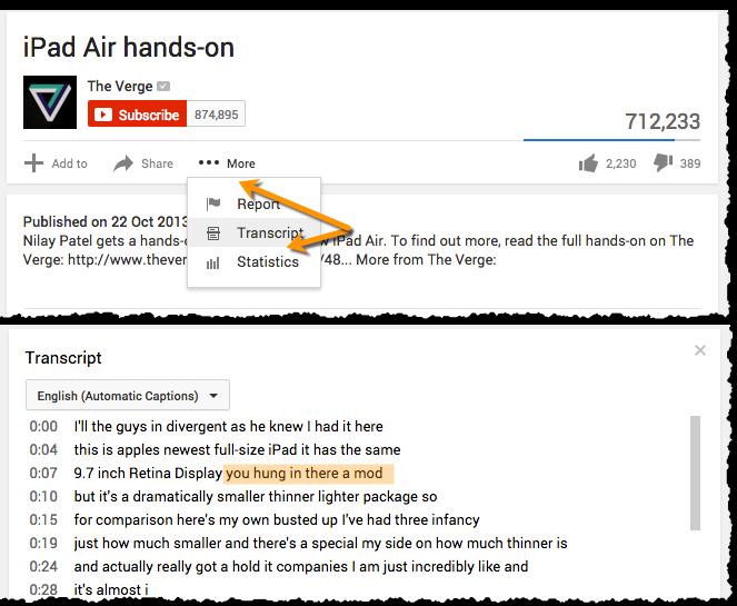 iPad Air - Transcript optimisation for SEO