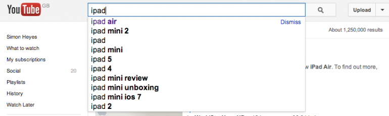 YouTube Autocomplete search results