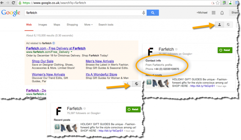 Farfetch - Search Plus Your World SERP