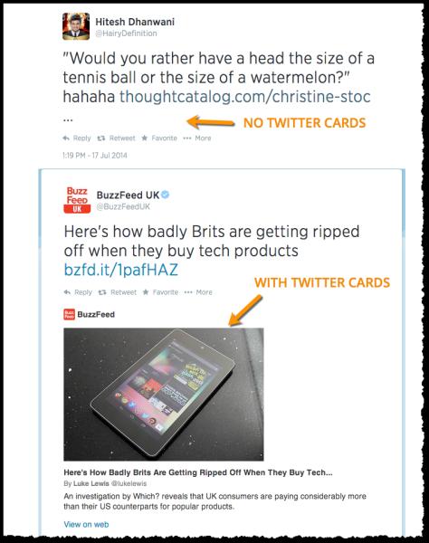 Twitter card comparison