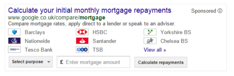 Google - UK Mortgage Calculator SERPs