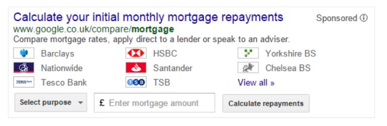 Google - UK Mortgage Calculator SERPs