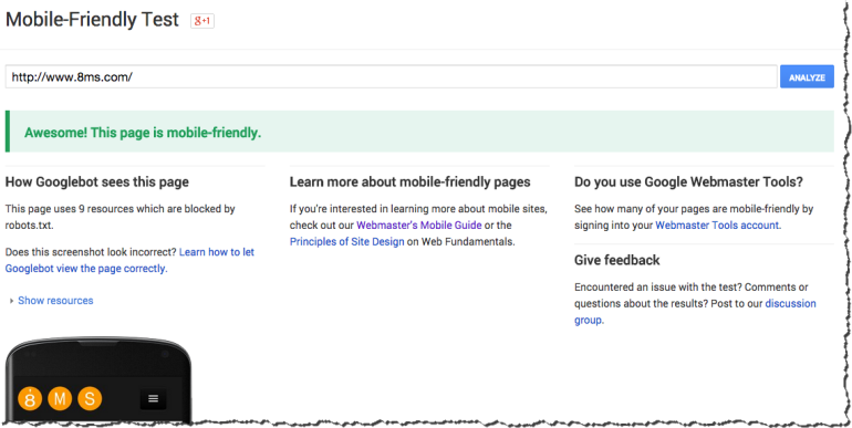 Google's Mobile-Frendly Testing Tool