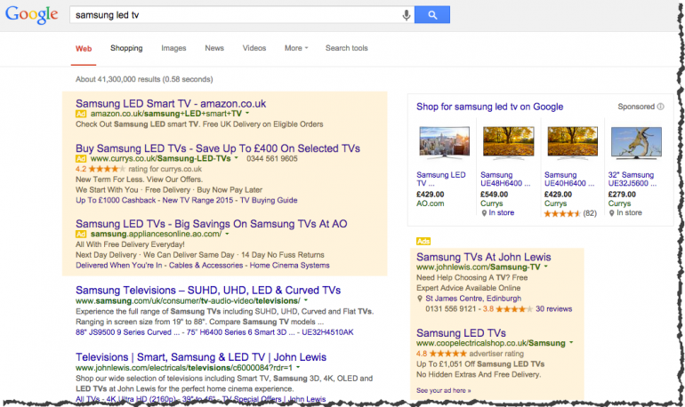 Google shows 5 ad slots on this SERP in the retail sector