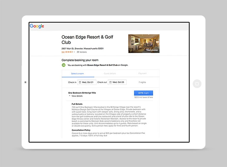 Google Hotel Ads - Complete Booking Screenshot