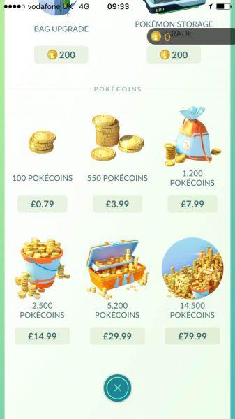 Pokecoins bundles in Pokemon Go