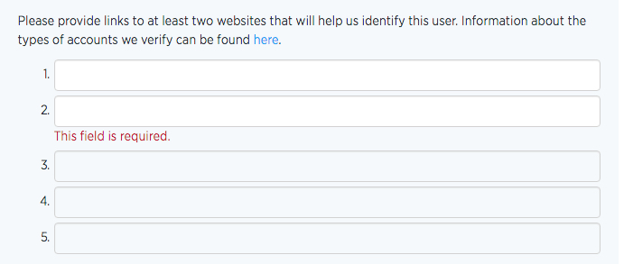 Twitter - URLs to verify your profile