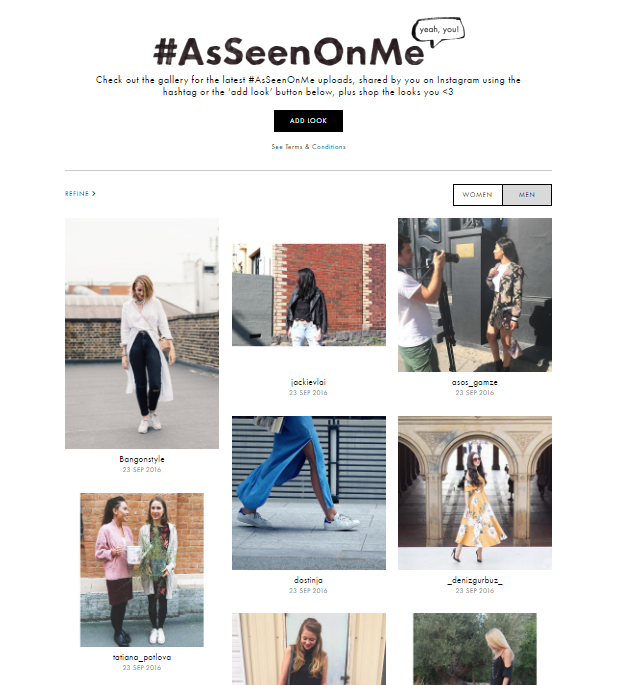 ASOS #AsSeenOnMe user-generated shoppable social content