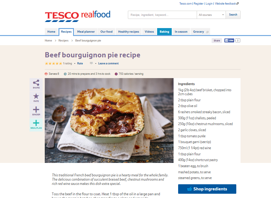 Tesco's RealFood shoppable recipe for beef bourguignon pie