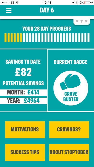 Stoptober mobile app screenshot