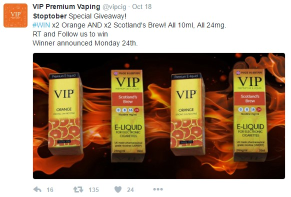 VIP Premium Vaping tweet about Stoptober