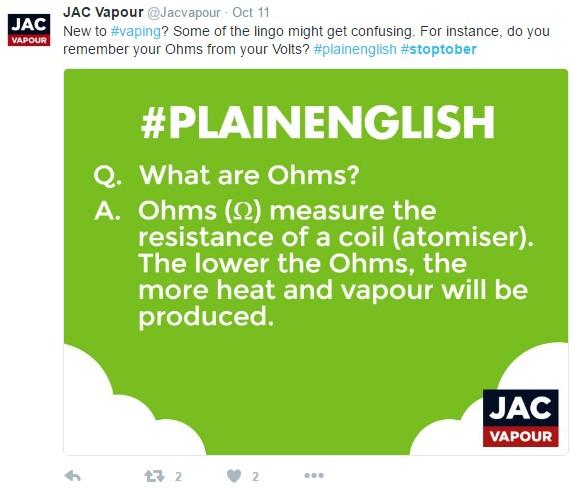 Jac Vapour Stoptober tweet
