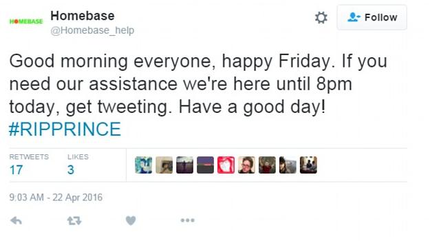 Homebase Prince hashtag fail