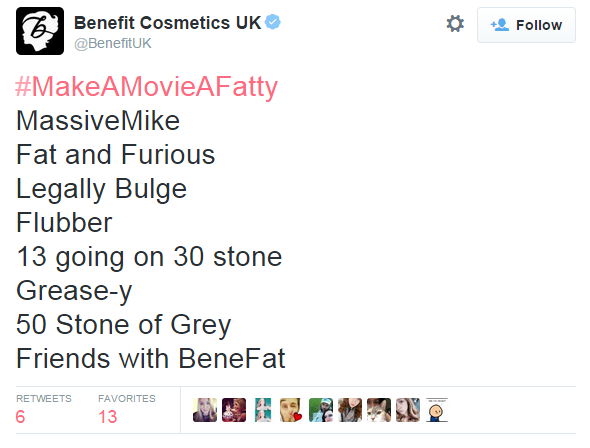 Benefit hashtag fail