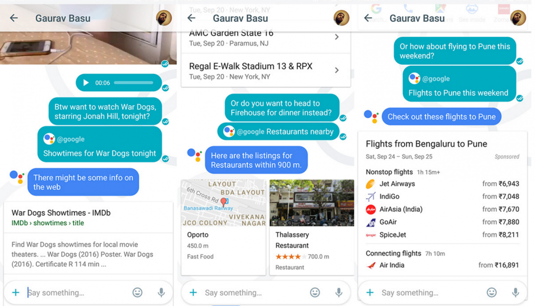 Google search assistant with allo messaging