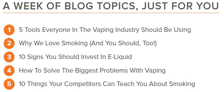 Hubspot screenshot of potential content topics