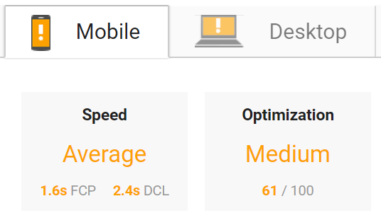 Page Speed Mobile vs Website
