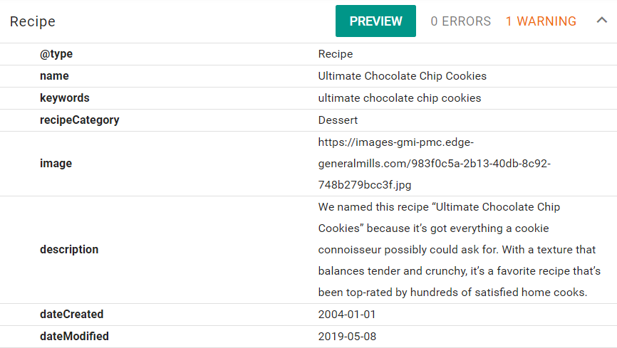 Betty Crocker Cookies Schema